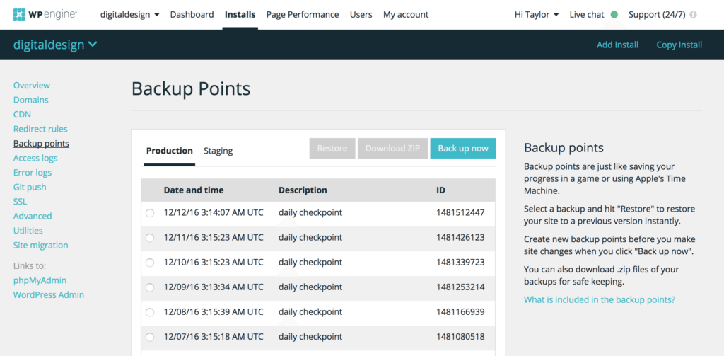 Backup Points in the User Portal