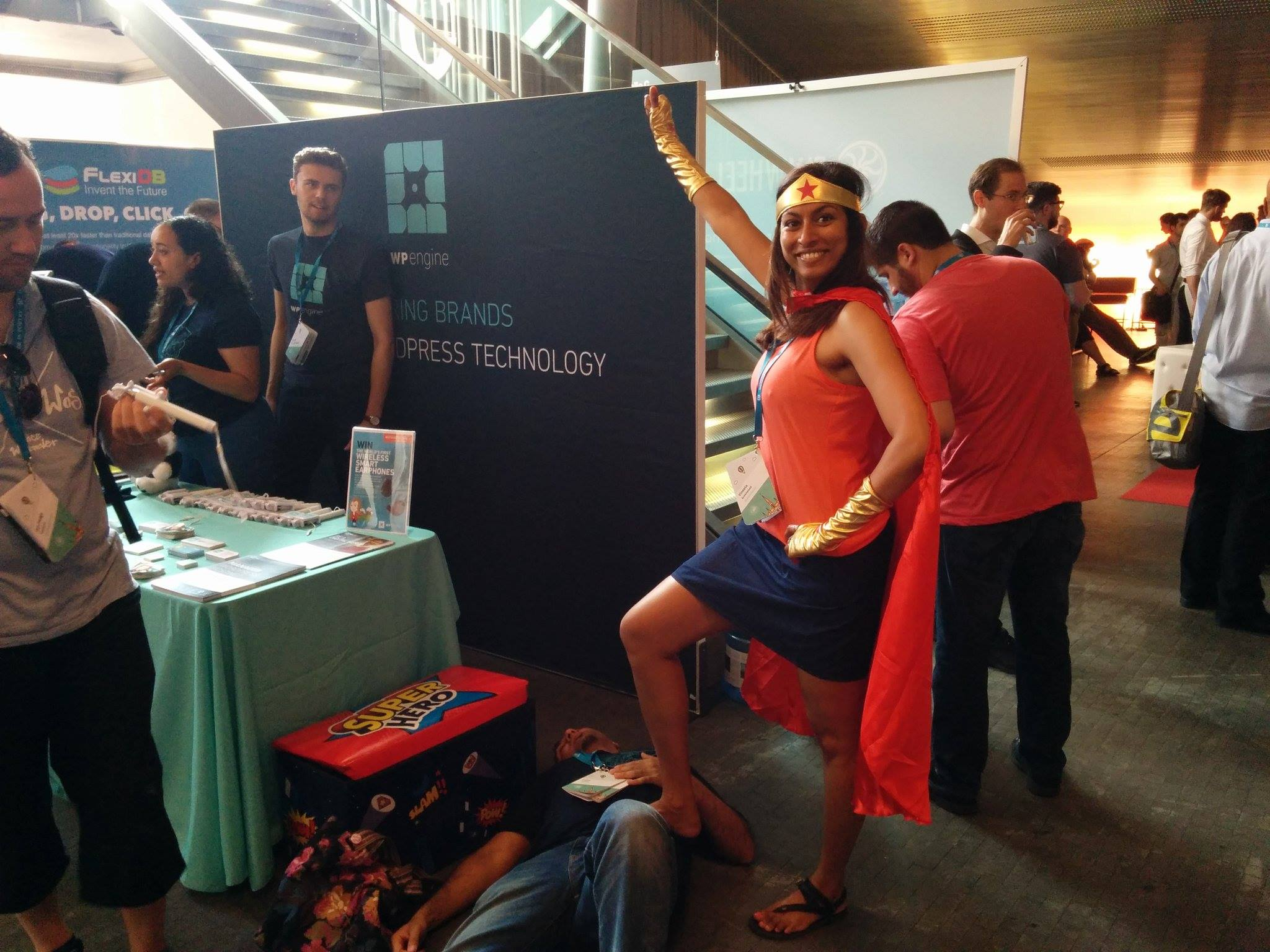 What's your digital superpower? Attendees played super-hero dress-up to celebrate the launch of WP Engine's latest product, Page Performance.