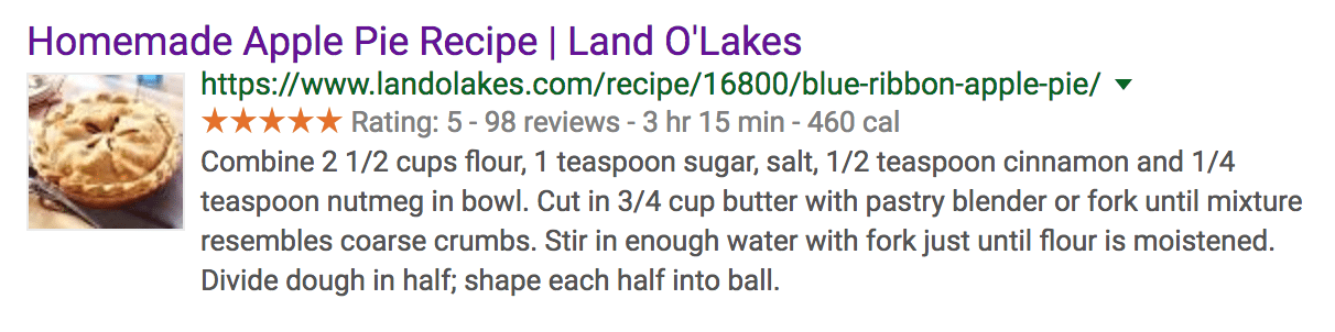 organic search result for a homemade apple pie recipe