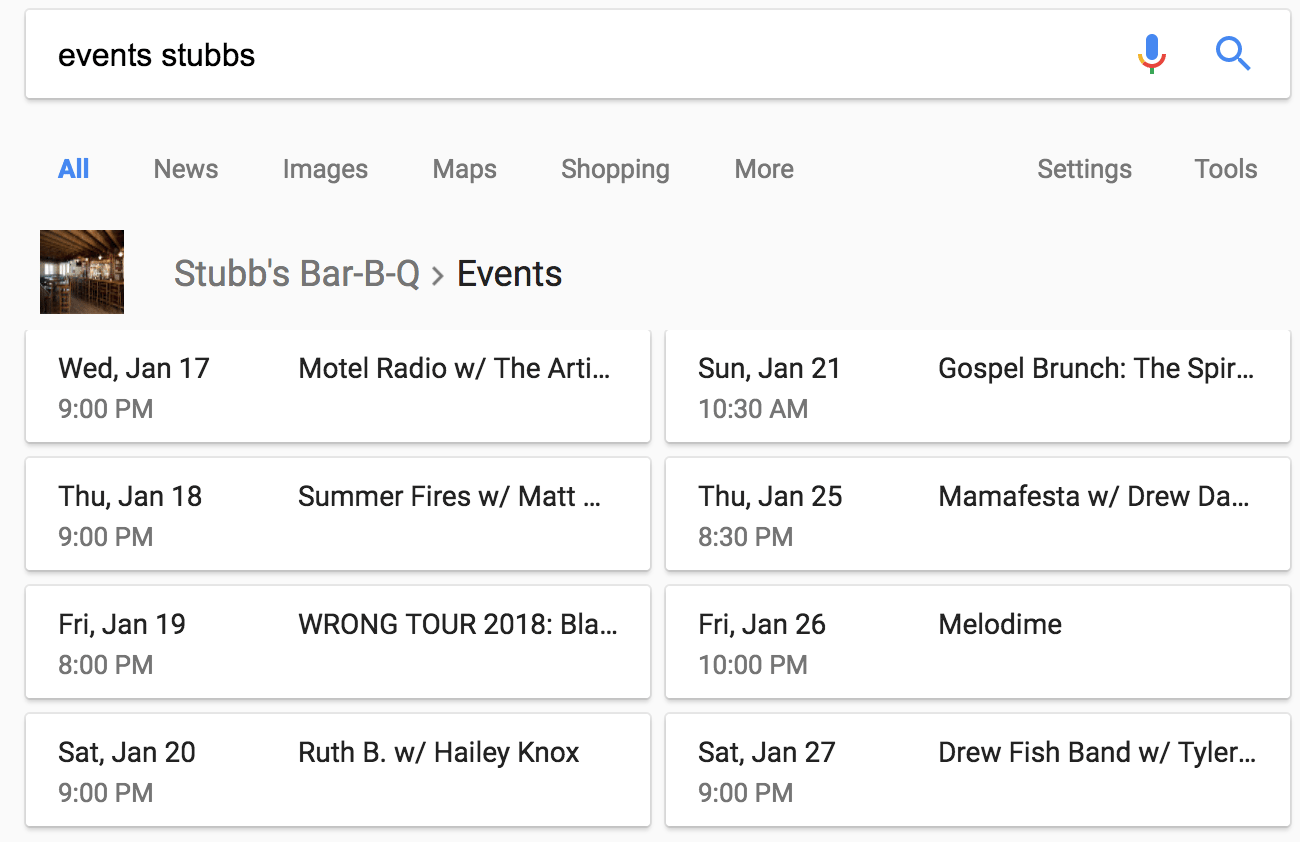 Serach result for events at Stubbs Bar-B-Q showing events and event details