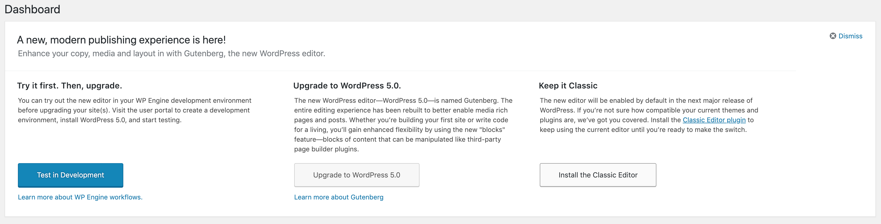 Customer Updates to WordPress 5.0