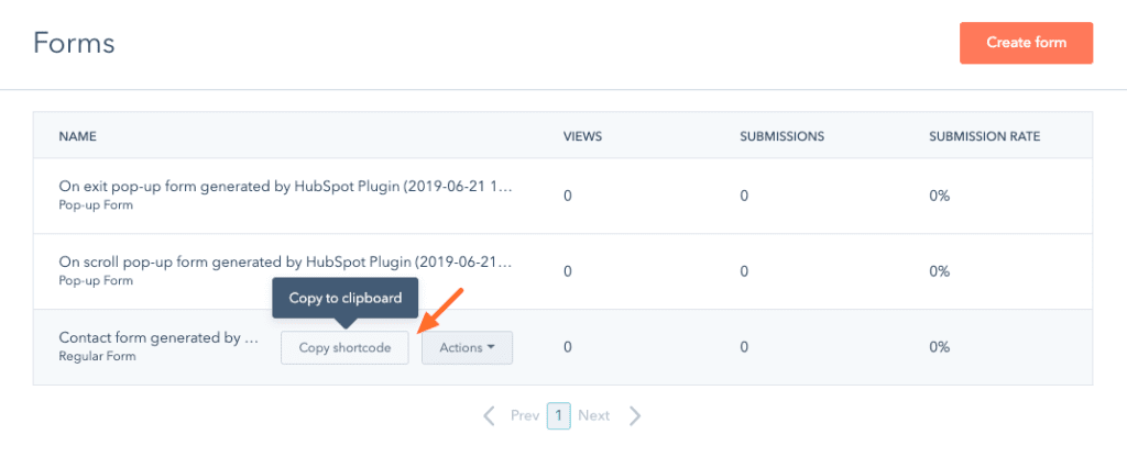 Where to find shortcode for forms in HubSpot's All-in-One Marketing plugin.