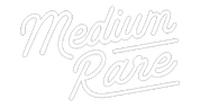 """Medium Rare Logo: The words """"Medium Rare"""" in a script font with the tail of the R underlining the word rare"""
