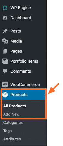 Screenshot of location of Products in the wp-admin
