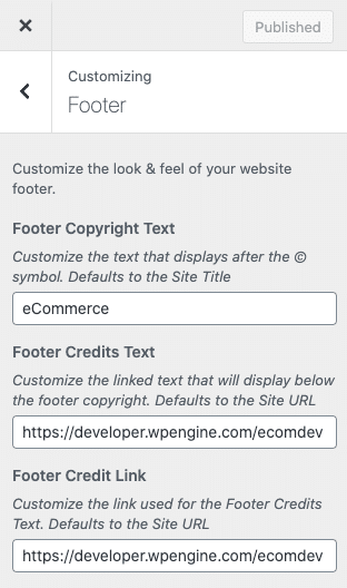 Screenshot of Footer Text settings in the Customizer